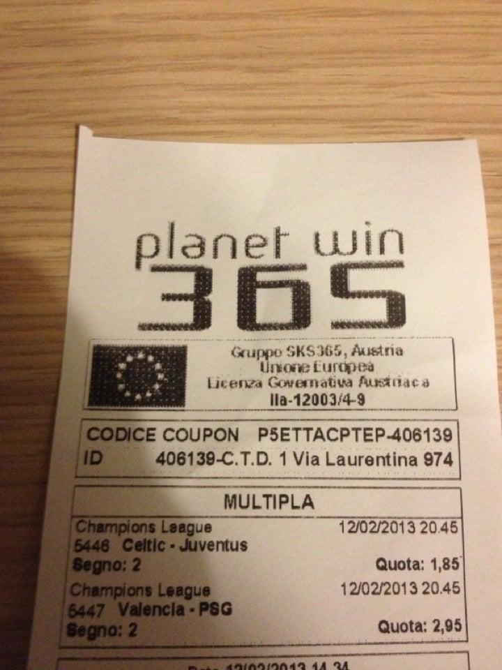 Planetwin 365 Biglietto